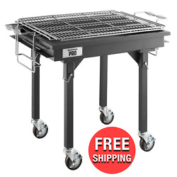 Heavy-duty Steel Charcoal Grill Outdoor Griller W/ Grates Removable Legs Cover