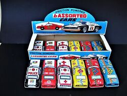 12 Friction Powered Assorted Cars - Tin Toy - Complete Set Unused - Japan