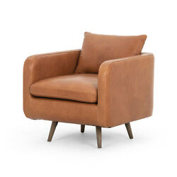 33 D Angled Box Swivel Arm Chair Brown Leather Brown Hardwood Legs Modern Chic