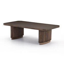 55 W Palace Hardwood Coffee Table Exotic Asian Pedestal Rods Brown Rustic