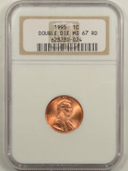 1995 Lincoln Cent - Double Die - Ngc Ms-67 Rd
