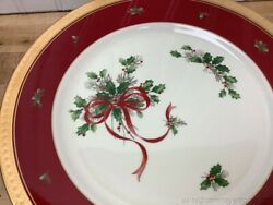 Mikasa Palatial Holly Gold Round Charger Cake Plate 12.25 L3468 Red Gold