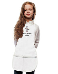 Personalized Kids Apron White Monogrammed for little Boy and Girl Chefs $23.99