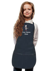 Personalized Kids Apron Navy Blue Monogrammed for little Boy and Girl Chefs $23.99