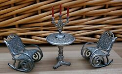 Antique Rare Metal Dollhouse Set Of Two Rocking Chairs Side Table And Candelabra
