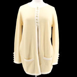 96c 42 Cc Button Long Sleeve Cardigan Tops Ivory Cashmere 70848