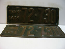 1929 Tennessee License Plate 72 - 730  Pair  Narrow Tag  Vintage As5111