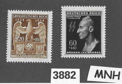 mnh Stamp Set Imperial Eagle And Heydrich Czechoslovakia German Occupation Wwii