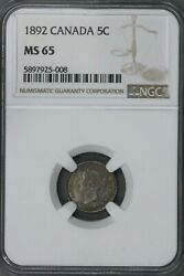 Canada 1892 5 Cent Ngc Ms 65 S270