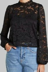 Wild Fable S Top Black Lace Balloon Long Sleeve High Neck Small Women $14.99