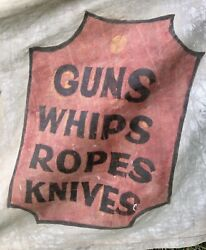 Antique Wild West Nevada Law's Western Show Banner, Circus, Guns, Knives, 16ft