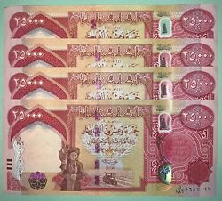100000 Iraqi Dinar / 4 X 25000 2018 Iqd 25k Notes - Authentic - Fast Shipping