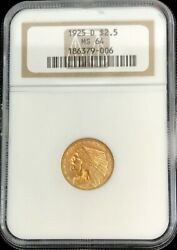 1925 D Gold Us 2.5 Dollar Indian Head Quarter Eagle Coin Ngc Mint State 64