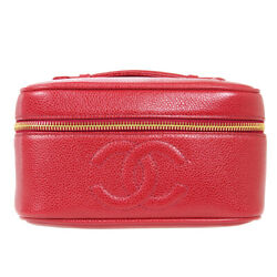 Cc Cosmetic Vanity Hand Bag Pouch 3519530 Purse Red Caviar Skin 91406