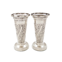 Pair Of Antique Victorian 5 1/2 Sterling Silver Vases - 1897