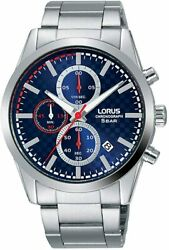 Lorus Mens Chronograph Watch With Silver Bracelet And Blue Dial Rm391fx9
