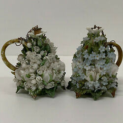 Antique Porcelain Scent Perfume Bottles Encrusted High Relief 19th Century