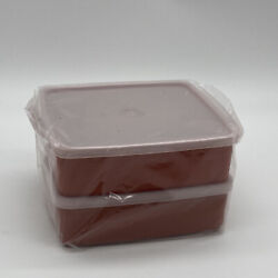 2 New Vintage Tupperware 1458 Square Away Sandwich Container W/ Lid Paprika Red