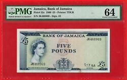 1960 £ 5 Five Pounds Bank Of Jamaica Note Pick 52c - Rare - Pmg Ch Unc 64