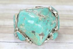 Large Sterling Silver Native American Turquoise Signed Cuff 7.25 Bracelet 737