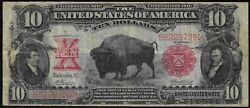 1901 Bison 10 Large United States Note Vf+ Free S/h After 1st Item