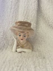 1736 Lefton Tan Bonnet And Dress Lady Head Vase 5 1/2andrdquo