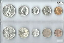 1942-p Us Mint Set - 5 Choice Brilliant Uncirculaed Coins In A Whitman Holder