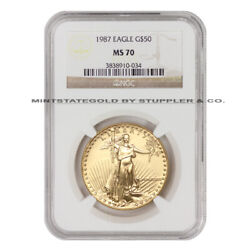 1987 50 Gold Eagle Ngc Ms70 American Bullion 1 Ounce Coin Perfect Mint State