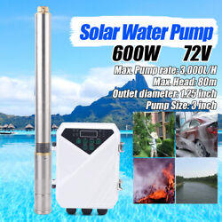 72v Solar Powered Submersible Water Pump 3000l/h For Fountain Pool With Control