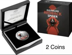 💰2021 And 2020 Aust.redback Spider 5 Coloured .9999 1oz+1 Silver Coins From Ram