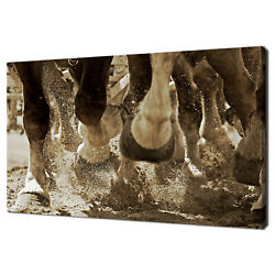 Horsepower And Hooves Horses Galloping Animals Canvas Print Wall Art Picture