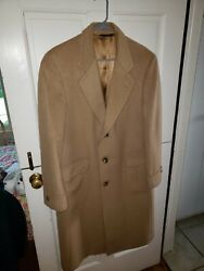 Hart Schaffner And Marx Gold Trumpeter 42r Camel Hair Overcoat Nice Free Ship