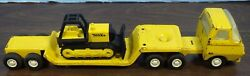 Tonka Semi Tractor With Lowboy Trailer And Bulldozer 11 Long Used