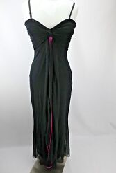 Cache Pleated Bustier Prom long dress evening Black Pink LBD USA 10 Accordion $55.99