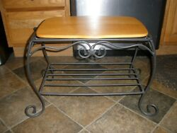 Ultra Rare Longaberger Wrought Iron Hope Chest Side Table/stand W/ Wood Shelf