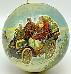 Vintage Paper Mache Decoupage Christmas Ornament Ball Container Santa Old Car