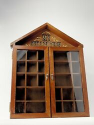 Vintage My Collection Wooden Shadow Box Glass Doors Display Cabinet Shelf House