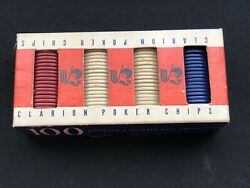 Vintage Clarion 100 Embossed Paper Poker Chips The Noiseless Chip Boxed