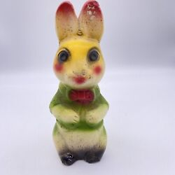 Vintage Carnival Prize Bunny Rabbit Chalkware Statue Anthropomorphic Colorful
