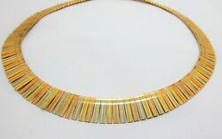 Vintage 1980and039s Tri-color Cleopatra Style 14k Necklace Excellent Condition