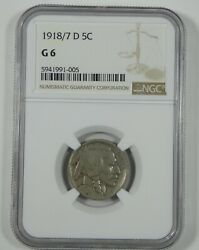 1918/7-d Buffalo Nickel Certified Ngc G6 5c Desirable Overdate Variety