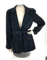 07a Black Crepe Wool Jacket Woven Cc Button Long Sleeve Belted Sz 42 Nwt