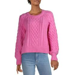 Alc Womens Pink Alpaca Blen Cable Knit Pullover Crewneck Sweater Xl Bhfo 9990