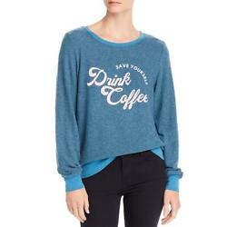 Wild Fox Womens Drink Coffee Blue Baggy Pullover Sweater Top Xs Bhfo 3803