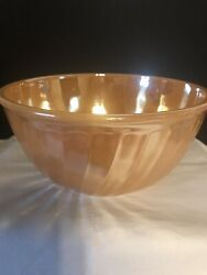 Vintage Anchor Hocking Fire-king Ovenware Peach Lustre Spiral 2qt. Mixing Bowl