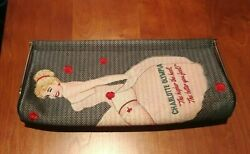 CHARLOTTE OLYMPIA pin up gray whisper magazine pouch clutch purse RARE $369.00
