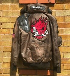 Cyberpunk 2077 Led Collar Distressed Brown Real Leather Cosplay Jacket Men Xs-5x