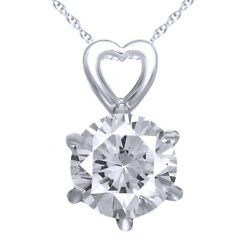 I3/i-j 0.70ct Round Diamond Jewelry 14k Solid Gold Solitaire Pendant Necklace