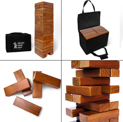 Giant Tumbling Timbers Stained And Finished Set With Durable Carrying - Stained