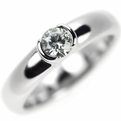 Pt950 Diamond Ring 0.30ct F Vs1 Vg/vg Dots - Auth Selby_japan